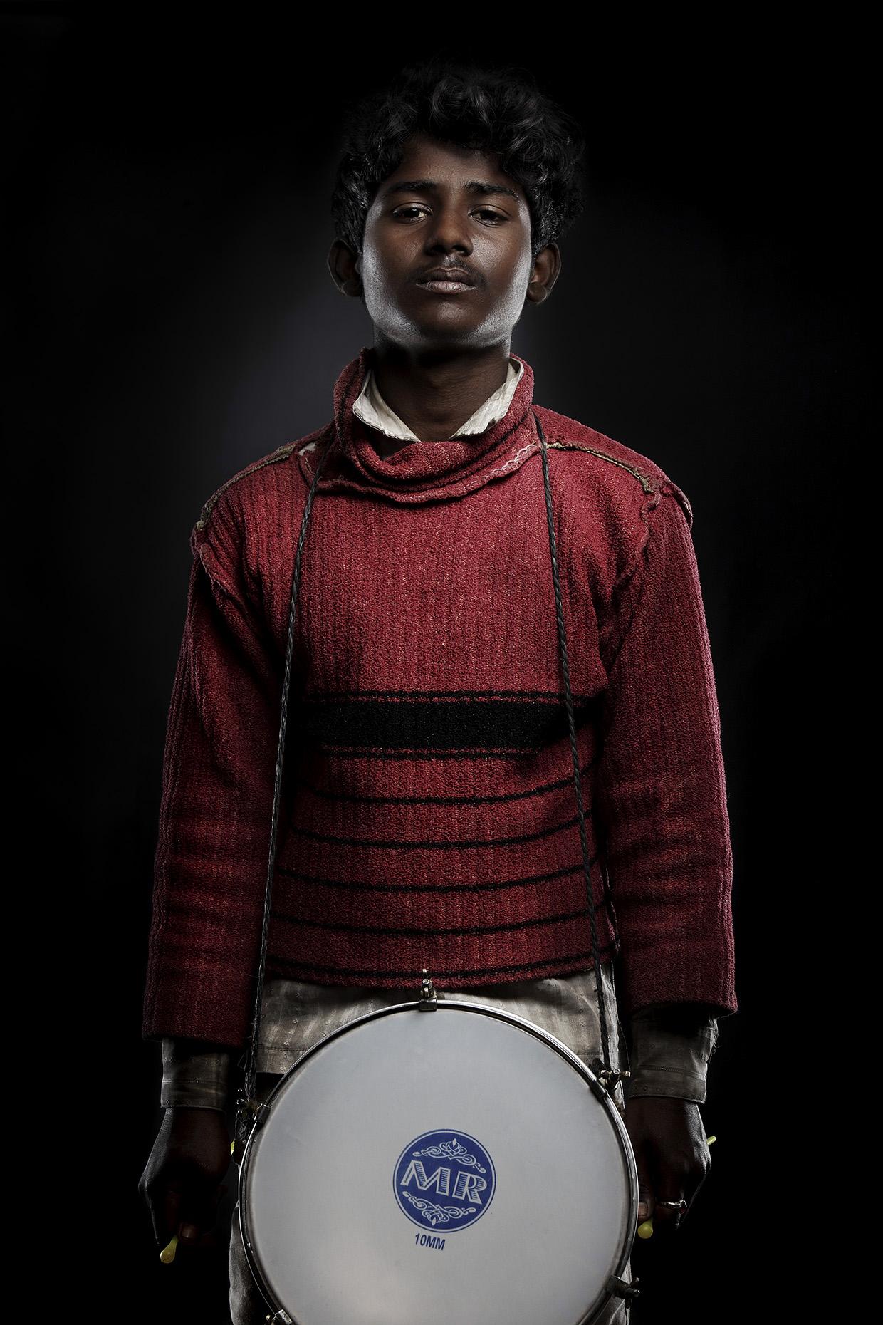 Photo of drummer boy at the Kumbh Mela