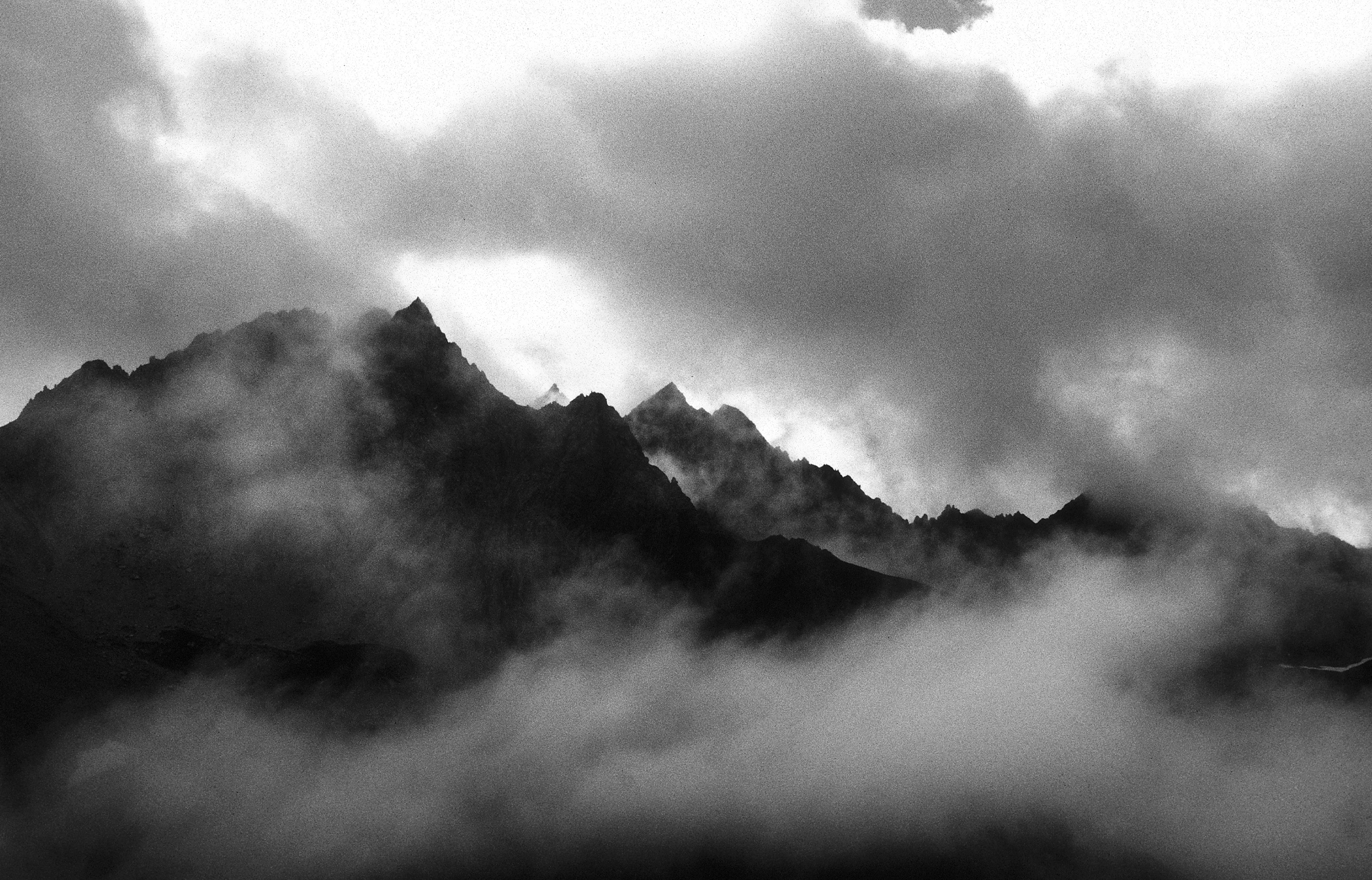 Dramatic black and white landscape